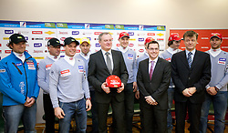 Gregor Sparovec, Pavli Cebulj, Miha Verdnik, Mitja Valencic, Aleksander Svetelsek, general manager of Petrol, Andrej Sporn, Roman Dobnikar of Petrol, Rok Perko, Matija Vojsk of SZS and Andrej Jerman at press conference of Men Alpine Ski team and sponsor Petrol, on December 8, 2010 in Petrol, Ljubljana, Slovenia. (Photo By Vid Ponikvar / Sportida.com)