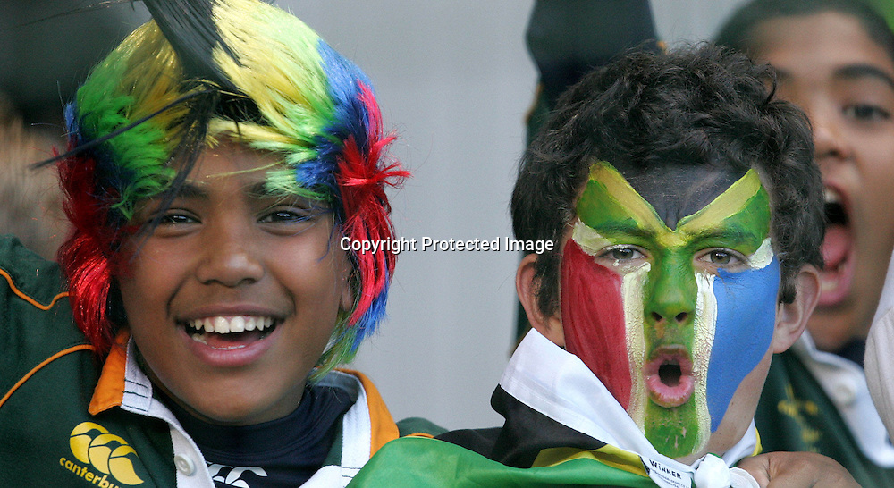 Springbok fans during the first 2009 tri-nations test match between South Africa and Australia held on the 8 August 2009 at Newlands Stadium in Cape Town, South Africa..Photo by RG/www.sportzpics.net.+27 (0) 21 785 6814