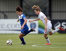 Angharad James of Bristol Academy Women is pursued by Ingrid Ryland of Liverpool Ladies - Mandatory by-line: Paul Knight/JMP - Mobile: 07966 386802 - 13/09/2015 -  FOOTBALL - Stoke Gifford Stadium - Bristol, England -  Bristol Academy Women v Liverpool Ladies FC - FA WSL Continental Tyres Cup