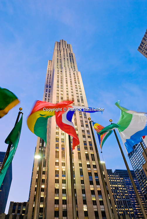 The GE Building 30 Rock With Flags Of Rockefeller Plaza