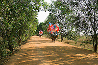 Bicycles with Festive Decorations on a Dirt Road