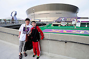 1/29/13 New Orleans San Francisco 49er's fans Nancy Branton and Isaac Dubofsky poses outside the Mercedes Benz Super Dome on their way to Media Day for the NFC champion San Francisco 49ers's and the AFC Champions  Baltimore Ravens  prior to Super Bowl XLV11 in New Orleans. Photo©Suzi Altman