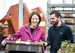 Scottish Labour leader Kezia Dugdale visits Alba Trees in Gladsmuir, East Lothian as part of the General Election campaign. She is pictured with worker Craig Shearer.<br /> <br /> © Dave Johnston/ EEm