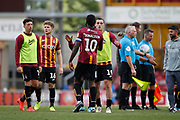 Bradford City's Clayton Donaldson(10) and Bradford City's Dylan Connolly(19) shake hands at full time during the EFL Sky Bet League 2 match between Bradford City and Northampton Town at the Utilita Energy Stadium, Bradford, England on 7 September 2019.