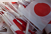 Japanese flags collected in a bin as well-wishers leave the Imperial Palace after Emperor Akihito's traditional birthday address on December 23rd 2008 in Tokyo. Japan