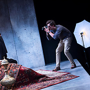 """July 10, 2015 - New York, NY : Alia Attallah, left, and Quinn Franzen perform in a dress rehearsal for Portland Center Stage<br /> and A Contemporary Theatre (ACT)'s presentation of Yussef El Guindi's """"Threesome"""" at 59E59 on Friday evening. CREDIT: Karsten Moran for The New York Times"""