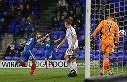 Danny Lloyd of Peterborough United celebrates after scoring his second goal of the game - Mandatory by-line: Joe Dent/JMP - 15/11/2017 - FOOTBALL - Prenton Park - Birkenhead, England - Tranmere Rovers v Peterborough United - Emirates FA Cup first round replay