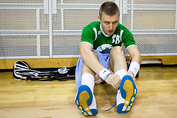 Anze Lebinger of FBK Olimpija during warm-up before match for fifth place between Downtown Tigers (FIN) and FBK Olimpija (SLO)  in Floorball Slo Open 2012, on August 26, 2012 in Ljubljana, Slovenia.  (Photo by Matic Klansek Velej / Sportida.com)
