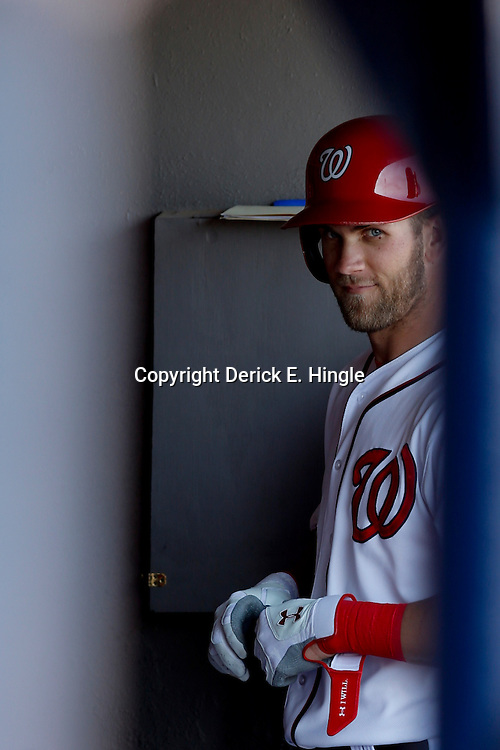 Mar 8, 2013; Melbourne, FL, USA; Washington Nationals center fielder Bryce Harper (34) exits the game during the top of the sixth inning of a spring training game against the St. Louis Cardinals at Space Coast Stadium. Mandatory Credit: Derick E. Hingle-USA TODAY Sports