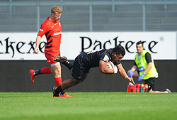 Elvis Taione of Exeter Braves scores a try- Mandatory by-line: Nizaam Jones/JMP - 22/04/2019 - RUGBY - Sandy Park Stadium - Exeter, England - Exeter Braves v Saracens Storm - Premiership Rugby Shield