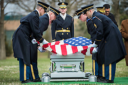 March 22, 2019 - Arlington, Virginia, U.S. - Soldiers from the 3d U.S. Infantry Regiment (The Old Guard) helps conduct military funeral honors with funeral escort for U.S. Army Air Forces Capt. Lawrence Dickson in Section 60 of Arlington National Cemetery, Arlington, Virginia, March 22, 2019. Dickson was a Tuskegee Airman (a member of the 100th Fighter Squadron, 332nd Fighter Group) and went missing in December 1944 when he plane crashed during his return from an aerial reconnaissance mission. His P-51D aircraft suffered engine failure and was seen crashing along the borders of Italy and Austria. (Credit Image: ? U.S. Air Force/ZUMA Wire/ZUMAPRESS.com)