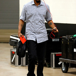 Jun 16, 2013; San Antonio, TX, USA; Miami Heat power forward Rashard Lewis arrives for game five in the 2013 NBA Finals against the San Antonio Spurs at the AT&T Center. Mandatory Credit: Derick E. Hingle-USA TODAY Sports