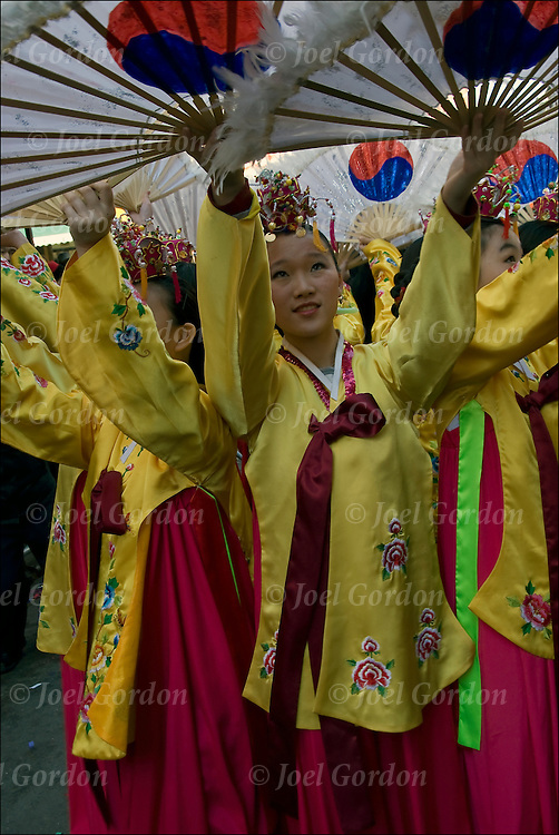 Girls in the Traditional Korean Dance Company from New Jersey practice their routine before the start of Lunar New Year Parade in New York, Sunday, Feb. 21, 2010.