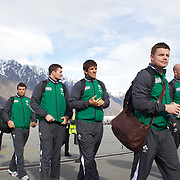 Brian O'Driscoll leads the Irish team off the plane as the Irish Rugby Team arrive at Queenstown airport with The Remarkables mountain range in the background. The team are based in Queenstown for the early part of the IRB Rugby World Cup 2011, Queenstown, New Zealand, 1st September 2011. Photo Tim Clayton...