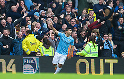 14.12.2013, Etihad Stadium, Manchester, ENG, Premier League, Manchester City vs FC Arsenal, 16. Runde, im Bild Manchester City's Sergio Aguero celebrates scoring the first goal against Arsenal // during the English Premier League 16th round match between Manchester City and Arsenal FC at the Etihad Stadium in Manchester, Great Britain on 2013/12/14. EXPA Pictures © 2013, PhotoCredit: EXPA/ Propagandaphoto/ David Rawcliffe<br /> <br /> *****ATTENTION - OUT of ENG, GBR*****