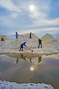 ca. 1980-1995, Manaure, Colombia --- Salt miners shovel salt into piles, Manaure, La Quajira, Colombia. --- Image by © Jeremy Horner/Corbis