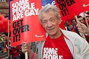 Sir Ian Mckellen takes part in London Pride, marching and speaking on behalf of Stonewall, 5 July 2008. © Guy Bell Photography, GBPhotos