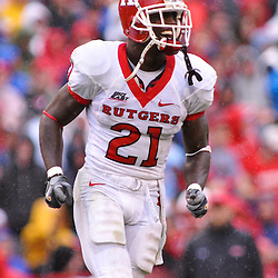 Sep 26, 2009; College Park, MD, USA; Rutgers cornerback Devin Mccourty (21) celebrates an interception with teammates during the first half of Rutgers' 34-13 victory over Maryland in NCAA college football at Byrd Stadium.