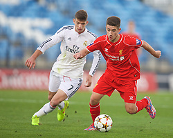 MADRID, SPAIN - Tuesday, November 4, 2014: Liverpool's Cameron Brannagan in action against Real Madrid CF during the UEFA Youth League Group B match at Ciudad Real Madrid. (Pic by David Rawcliffe/Propaganda)