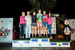 Franc Hvasti, Tina Perse of Calcit Bike Team, friend of winner Spela Kern of BTC City Ljubljana and Katja Jeretina of KK Adria Mobil at Trophy ceremony after the cycling race Night Criterium - Kranj 2016, on July 30, 2016 in Kranj, Slovenia. Photo by Vid Ponikvar / Sportida