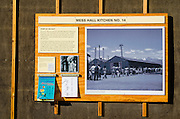 Mess hall interpretive sign at Manzanar National Historic Site, Lone Pine, California USA