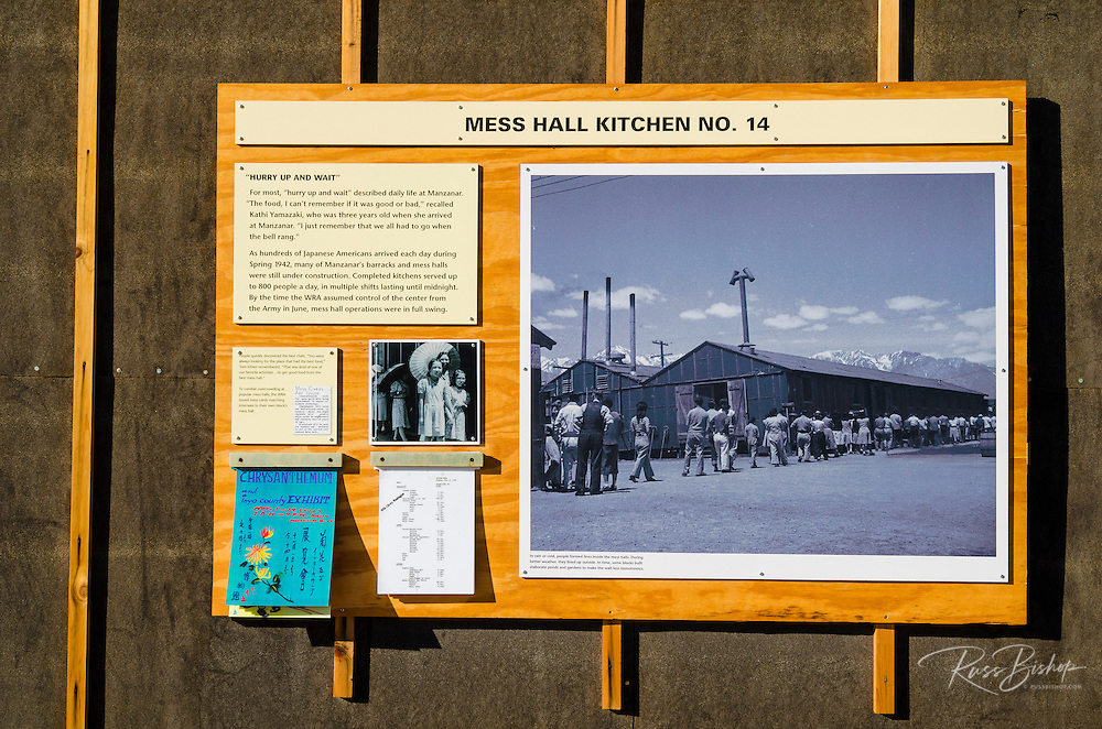 Mess hall interpretive sign at Manzanar National Historic Site, Lone Pine, California USA