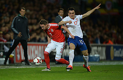 Chris Gunter of Wales battles for the ball with Filip Kostic of Serbia - Mandatory by-line: Alex James/JMP - 12/11/2016 - FOOTBALL - Cardiff City Stadium - Cardiff, United Kingdom - Wales v Serbia - FIFA European World Cup Qualifiers