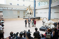 ROME, ITALY - 20 JULY 2014: (L-R) Mayor of New York Bill De Blasio gives a speech during a press conference at the Capitoline Museums, next to Mayor of Rome Iganzio Marino (left) and his wife Chirlane McCray, his son Dante, and his daughter Chiara (right), in Rome, Italy, on July 20th 2014.<br /> <br /> Bill de Blasio arrived in Italy with his family Sunday morning for an 8-day summer vacation that includes meetings with government officials and sightseeing in his ancestral homeland.