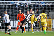 Notts County forward Jonathan Stead (30) is challenged by Morecambe defender Dean Winnard (6)  during the EFL Sky Bet League 2 match between Notts County and Morecambe at Meadow Lane, Nottingham, England on 9 September 2017. Photo by Simon Davies.