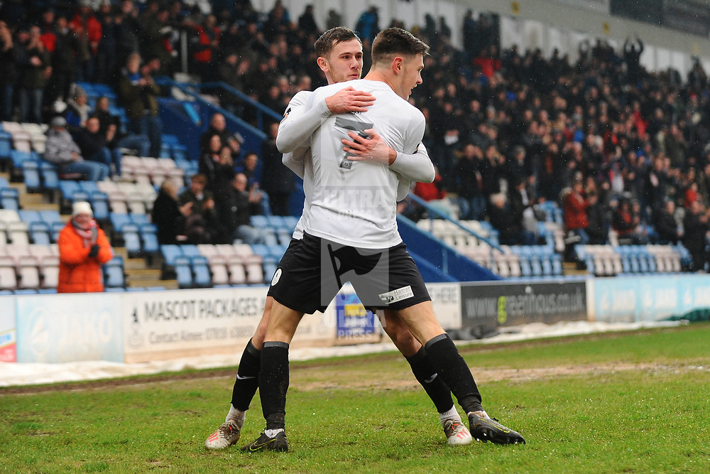 TELFORD COPYRIGHT MIKE SHERIDAN GOAL. Arlen Birch of Telford congratulated Ryan Barnett of Telford after his cross is turned in to make it 1-0 during the Vanarama Conference North fixture between AFC Telford United and Alfreton Town at the New Bucks Head Stadium on Thursday, December 26, 2019.<br /> <br /> Picture credit: Mike Sheridan/Ultrapress<br /> <br /> MS201920-036