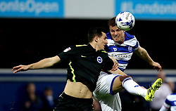 Matt Smith of Queens Park Rangers beats Lewis Dunk of Brighton & Hove Albion to a header - Mandatory by-line: Robbie Stephenson/JMP - 07/04/2017 - FOOTBALL - Loftus Road - Queens Park Rangers, England - Queens Park Rangers v Brighton and Hove Albion - Sky Bet Championship