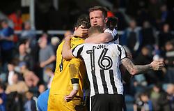 Scott Wiseman of Rochdale congratulates team-mates Matt Done and Josh Lillis at full-time - Mandatory by-line: Joe Dent/JMP - 14/04/2018 - FOOTBALL - ABAX Stadium - Peterborough, England - Peterborough United v Rochdale - Sky Bet League One