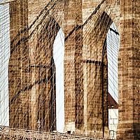 Close up of Brooklyn Bridge, New York City, USA.