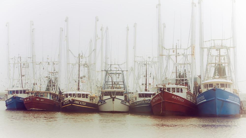 String of fishing boats docked in Venice Marina, in Venice, LA.  Copyright 2011 Reid McNally