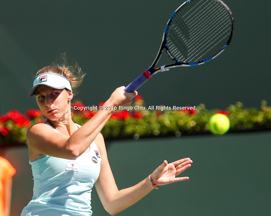 Karolina Pliskova of Czech in action against Daria Kasatkina of Russia during the women's singles quarterfinals of the BNP Paribas Open tennis tournament on Thursday, March 17, 2016 in Indian Wells, California.  Pliskova won 6-3, 6-2.(Photo by Ringo Chiu/PHOTOFORMULA.com)<br /> <br /> Usage Notes: This content is intended for editorial use only. For other uses, additional clearances may be required.