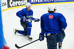 Rok Ticar of Slovenia and Anze Kopitar of Slovenia during practice session of Slovenian Ice Hockey National Team at Day 4 of 2015 IIHF World Championship, on May 4, 2015 in Practice arena Vitkovice, Ostrava, Czech Republic. Photo by Vid Ponikvar / Sportida