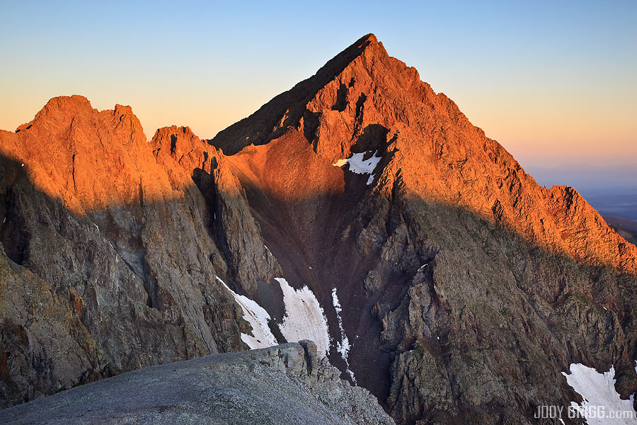 Sunrise on the less familiar eastern face of Mount Sneffels 14,150ft outside of Ouray, Colorado