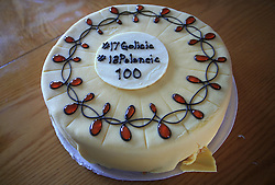 Cake at whale watching boat when Poloncic (18), Golicic (17), Rebolj (27) and Razingar (9) were celebrating an anniversary of playing for Slovenian National Team for 100 (120) times, during IIHF WC 2008 in Halifax,  on May 07, 2008, sea at Halifax, Nova Scotia,Canada.(Photo by Vid Ponikvar / Sportal Images)