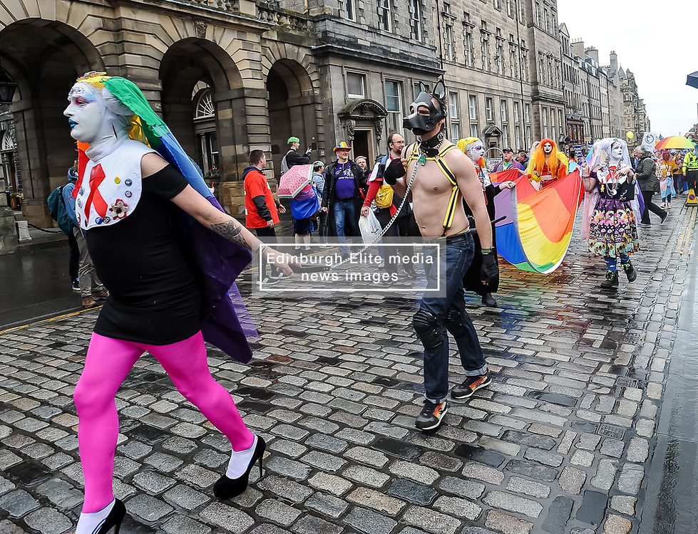 Thousands of marchers rallied outside the Scottish Parliament to celebrate the annual Scotia Pride event in Edinburgh.<br /> <br /> © Dave Johnston / EEm