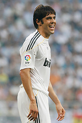 Kaka laughs during the match between Real Madrid  and  Deportivo de La Coruna's  during La Liga match.August 29 2009.