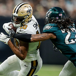 Nov 18, 2018; New Orleans, LA, USA; New Orleans Saints wide receiver Tre'Quan Smith (10) breaks away from Philadelphia Eagles cornerback Sidney Jones (22) during the second quarter at the Mercedes-Benz Superdome. Mandatory Credit: Derick E. Hingle-USA TODAY Sports