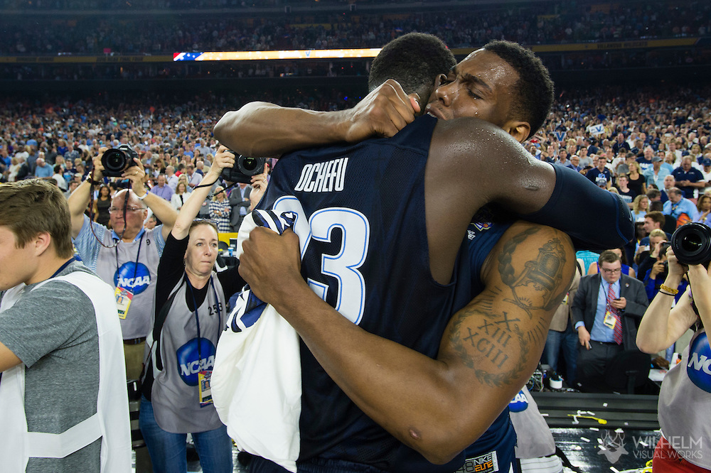 04 APR 2016: Teammates Forward Daniel Ochefu (23) and Forward Darryl Reynolds (45) of Villanova University during the 2016 NCAA Men's Division I Basketball Final Four Championship game held at NRG Stadium in Houston, TX.  Brett Wilhelm/NCAA Photos