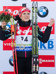 Winner Gabriela Soukalova of Czech Republic during flower ceremony after the Women 7.5 km Sprint at day 1 of IBU Biathlon World Cup 2014/2015 Pokljuka, on December 18, 2014 in Rudno polje, Pokljuka, Slovenia. Photo by Vid Ponikvar / Sportida