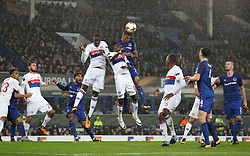 Everton's Dominic Calvert-Lewin (centre right) jumps for the ball with Olympique Lyonnais' Mouctar Diakhaby (centre left) and Bertrand Traore (centre)