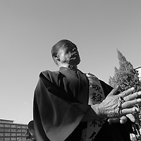 Monks pray after evacuation  of antinuclear camp