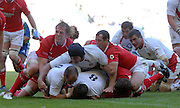 Twickenham, GREAT BRITAIN, Shaun PERRY, touches down for a second half try driven on by Nick EASTER, during the Investic Rugby match between, England and Wales, at Twickenham Rugby  Ground, England Sat. 04.07.2007  [Mandatory Credit, Peter Spurrier/Intersport-images].....