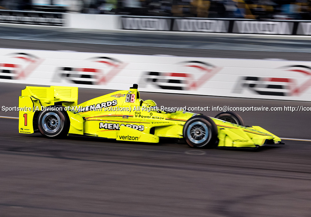 AVONDALE, AZ - APRIL 29: Team Penske driver Simon Pagenaud (1) of France takes his first oval win during the Verizon IndyCar Desert Diamond West Valley Phoenix Grand Prix on April 29, 2017, at Phoenix International Raceway in Avondale, AZ. (Photo by Carlos Herrera/Icon Sportswire)