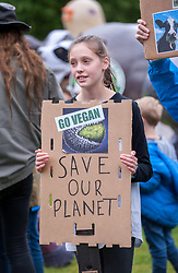 © Licensed to London News Pictures. 15/06/2019. Bristol, UK. Several hundred protesters take part in a Vegan and Animal Rights March Bristol 2019 through the city centre. Organisers have said their main message is for animal liberation, using their voices in the march to make Bristol listen and hopefully get them doing more research into the animal cruelty and go vegan. The march is mainly for vegans, but also vegetarians and people against animal cruelty. In January Bristol was ranked as the best place in the world for vegans, according to online cookbook Chef's Pencil. Residents in Bristol typed in more vegan-related searches throughout 2018 than any other city across the globe. There are a number of vegan or vegan-friendly restaurants, bars and cafes around the city, and an activism scene with regular events. Their is a demand for vegan food and Bristol offers vegans lots of food choices and also fashion options too with a vegan shoe store Collection and Co. Photo credit: Simon Chapman/LNP.