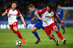 Marc Albrighton of Leicester City goes past Grzegorz Krychowiak of West Bromwich Albion - Mandatory by-line: Robbie Stephenson/JMP - 16/10/2017 - FOOTBALL - King Power Stadium - Leicester, England - Leicester City v West Bromwich Albion - Premier League