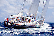 Avalon sailing in the 2010 St. Barth's Bucket superyacht regatta, race 1.